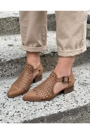 sweet girl Kadın Taba Tokalı Yazlık Kovboy Bot Ayakkabı Delikli Rahat Sivri Üçgen 0