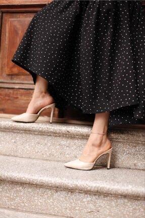 Malina Ayakkabı Çanta Kadın Krem Sivri Burun Topuklu Terlik 0