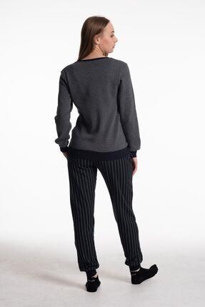 Feyza Kadın Pijama Takımı Uzun Kol Newyork Baskı Alt Çizgili 1