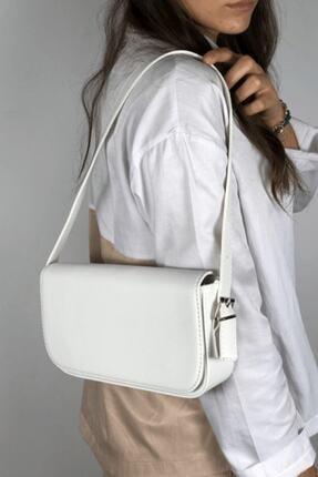 LinaConcept Kadın Beyaz Kapaklı Baget Çanta 2