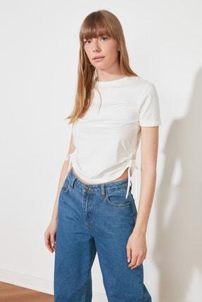 TRENDYOLMİLLA Ekru Büzgülü Basic Örme T-Shirt TWOSS21TS0131 2