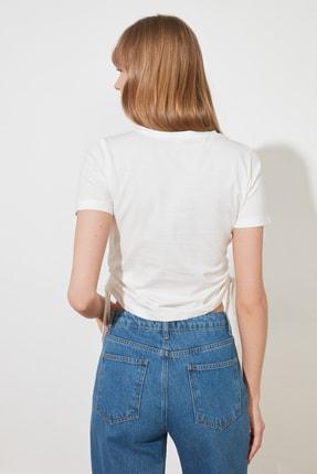 TRENDYOLMİLLA Ekru Büzgülü Basic Örme T-Shirt TWOSS21TS0131 4