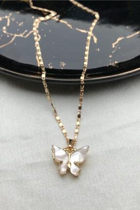 modadern Kadın Gold Beyaz Taşlı Kelebek Kolye 0