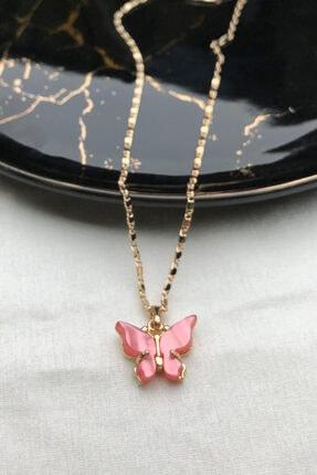 modadern Kadın Gold Pembe Taşlı Kelebek Kolye 0