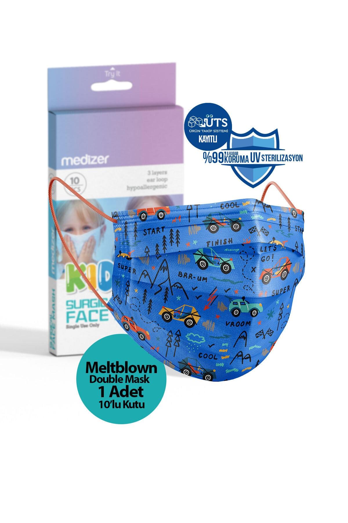 Mavi Araba Desenli 3 Katlı Meltblown Cerrahi Çocuk Maskesi 10'lu 1 Kutu Telli
