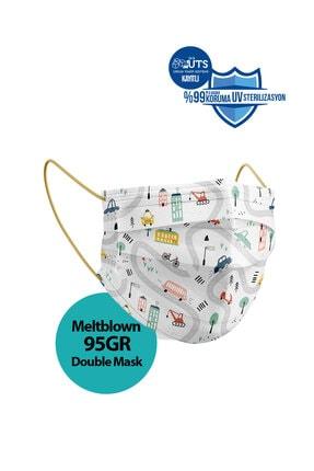 Sabomar Medizer Meltblown Ultrasonik Cerrahi Erkek Çocuk Maskesi 50 Adet - Telli - 10'ar Adet 5 Farklı Desen 3