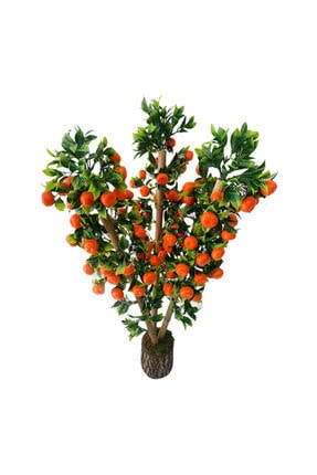 Hediye Vitrini Doğal Bambu Yapay Çiçek 1.kalite Yapay Mandalina Ağacı Odun Saksılı 75 Cm 1