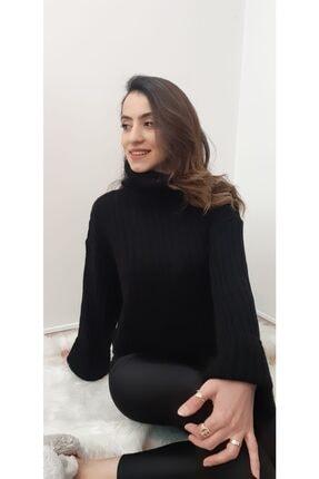 qstyle Kadın Siyah Balıkçı Yaka Kazak 3