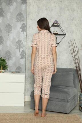 SEYKO Kadın Krem Rengi Penye Bermuda Pijama Takımı 2