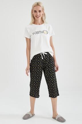 Defacto Kadın Siyah Slogan Baskılı Kısa Kol Pijama Takımı 0