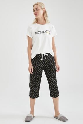 Defacto Kadın Siyah Slogan Baskılı Kısa Kol Pijama Takımı 4