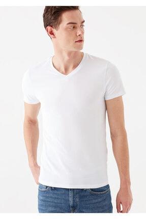Mavi V Yaka Streç Beyaz Basic Tişört 1
