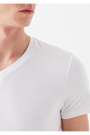 Mavi V Yaka Streç Beyaz Basic Tişört 4