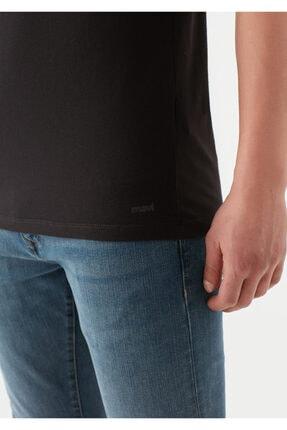 Mavi V Yaka Streç Siyah Basic Tişört 4