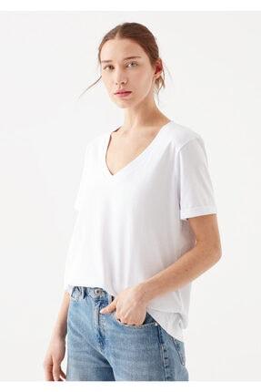 Mavi Kadın V Yaka Basic Beyaz T-Shirt 1