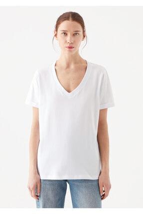 Mavi Kadın V Yaka Basic Beyaz T-Shirt 2