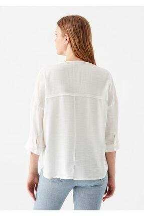 Mavi V Yaka Beyaz Bluz 3