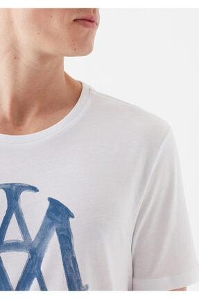 Mavi Logo Baskılı Beyaz Tişört 4