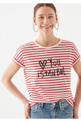Mavi Love You Baskılı Çizgili Istanbul Tişört 1