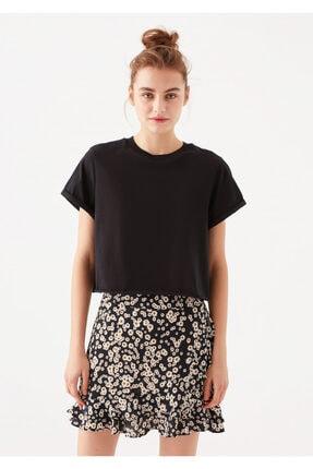 Mavi Siyah Crop Tişört 2
