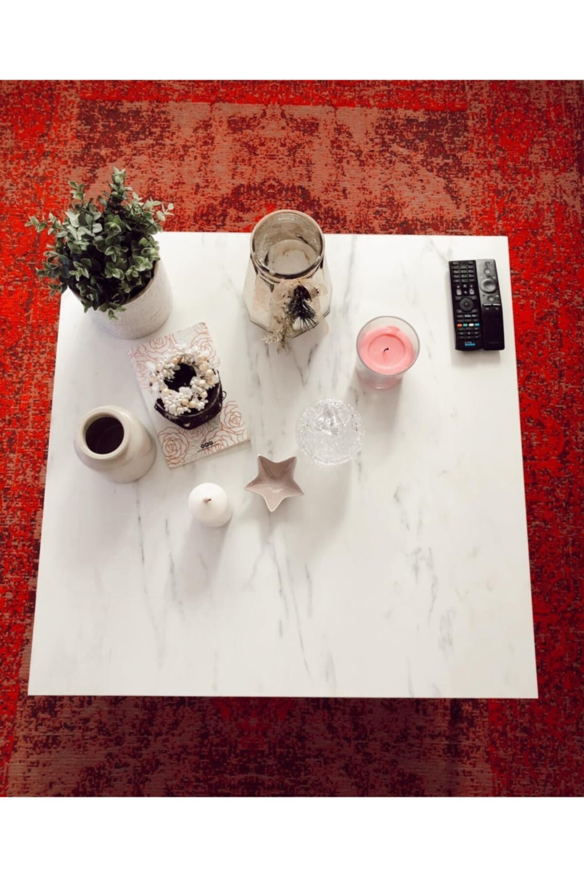 dekozem Beyaz Mermer Desen Orta Sehpa 75x75x40 Dkzm-2021-byzmros