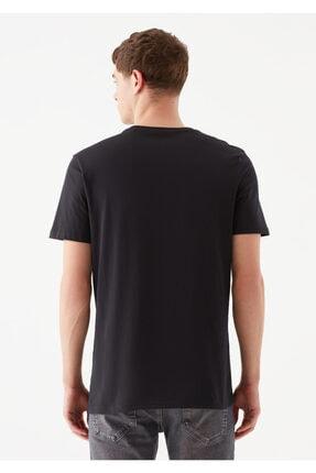 Mavi Logo Baskılı Siyah Tişört 4