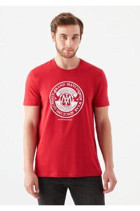 Mavi Erkek Kırmızı Logo Baskılı Tişört 2