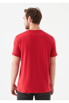 Mavi Erkek Kırmızı Logo Baskılı Tişört 3