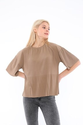 Tiefti Kadın Kahverengi Fitilli Bluz 1