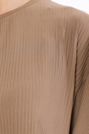 Tiefti Kadın Kahverengi Fitilli Bluz 4