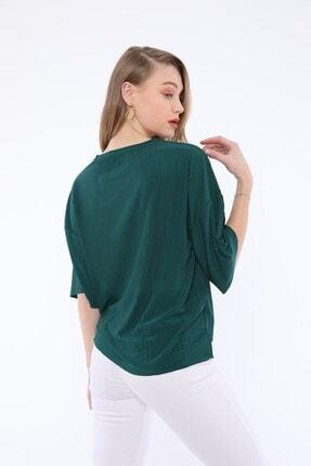 Tiefti Kadın Yeşil Fitilli Kısa Kol  Bluz 2