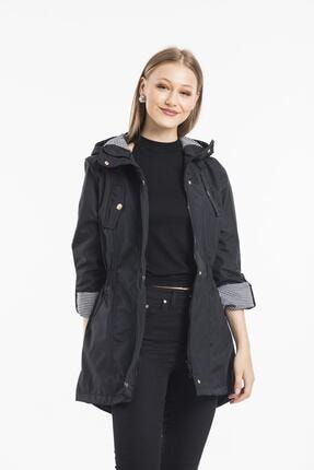 ladyzey Kadın Ceket Yaka Beli Lastkli Katlanabilir Kol Astarlı Trençkot 0