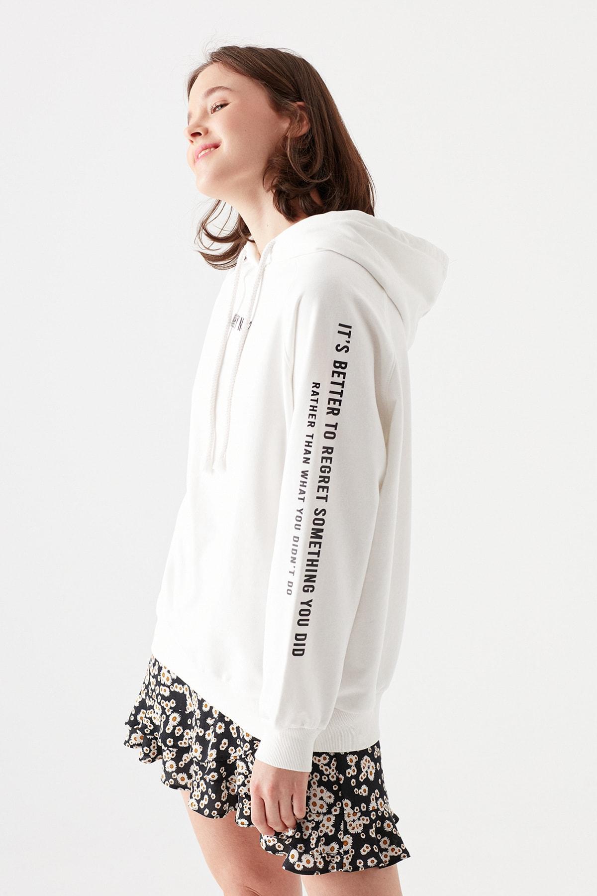 Kadın Why Not Baskılı Kapüşonlu Sweatshirt 1600516-33389