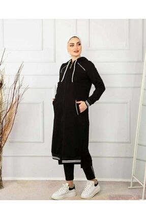 Camelya Fashion Kadın Siyah Eşofman Takımı 2'li 3