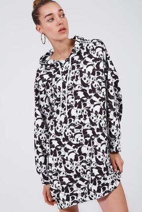 Pattaya Kadın Baskılı Oversize Sweatshirt Elbise P20w-4127 1