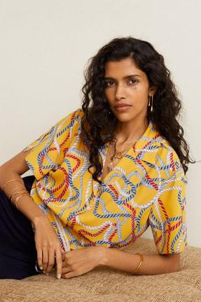 Mango Kadın Sarı Şal Desenli Gömlek 41069081 1