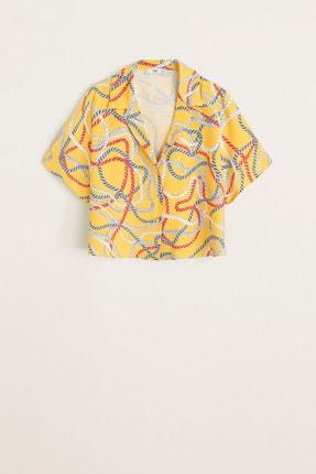 Mango Kadın Sarı Şal Desenli Gömlek 41069081 2