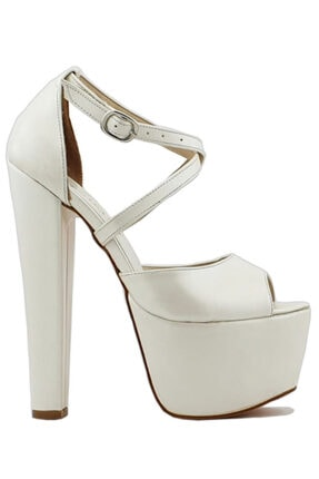 İLGİPARK Kadın Beyaz 16,5 cm Topuklu Çapraz Bant Platform Ayakkabı 1