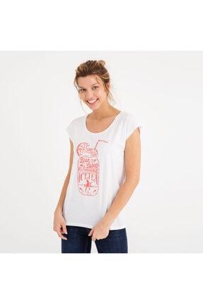Mustang Kadın Baskılı T-shirt Beyaz 2