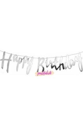 Partifabrik Happy Birthday Italik Gümüş Yazı Süs 0