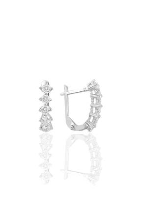 Söğütlü Silver Gümüş Rodyumlu Zirkon Taşlı Beştaş J Küpe 0
