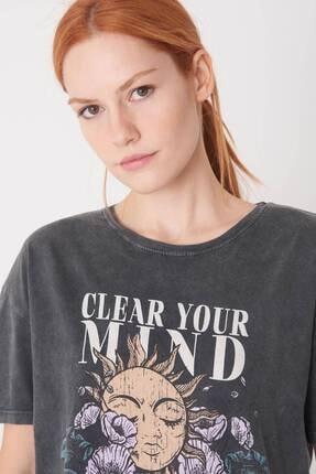 Addax Kadın Antrasit Baskılı T-Shirt P0897 - I12 Adx-0000022038 2