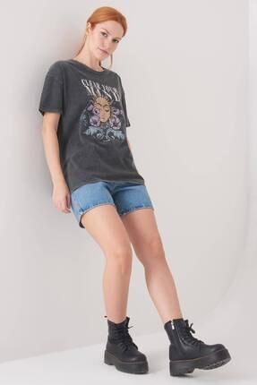 Addax Kadın Antrasit Baskılı T-Shirt P0897 - I12 Adx-0000022038 3