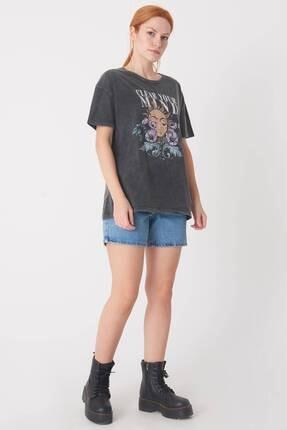 Addax Kadın Antrasit Baskılı T-Shirt P0897 - I12 Adx-0000022038 4