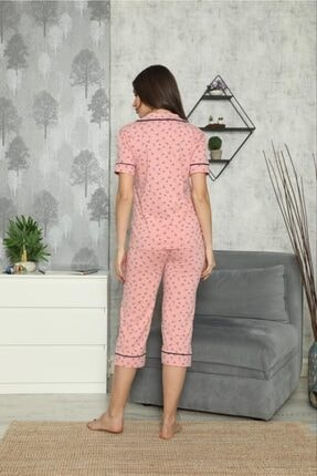 SEYKO Kadın Pembe Penye Bermuda Pijama Takımı 1
