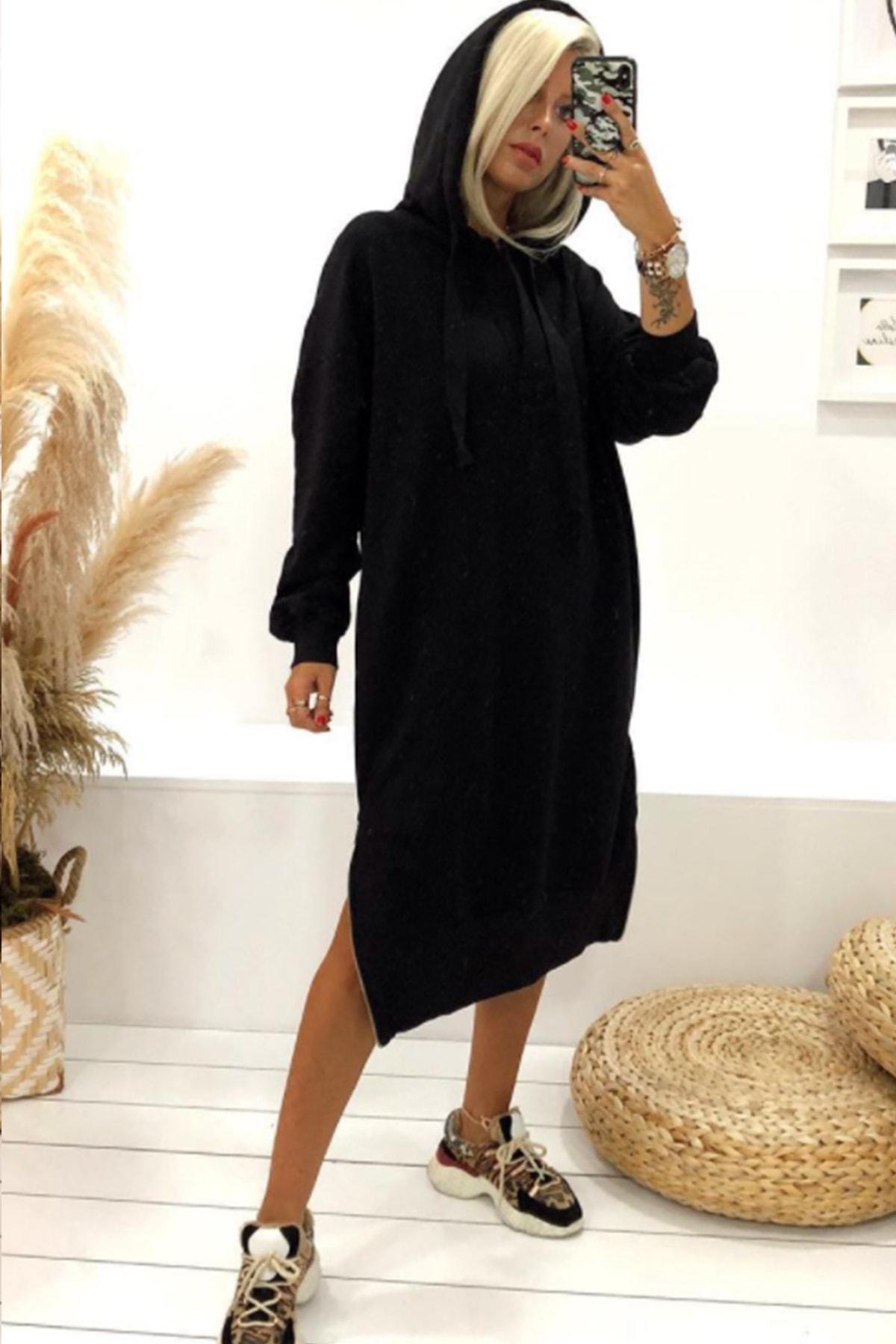 Kadın Siyah 3 Iplik Uzun Spor Elbise
