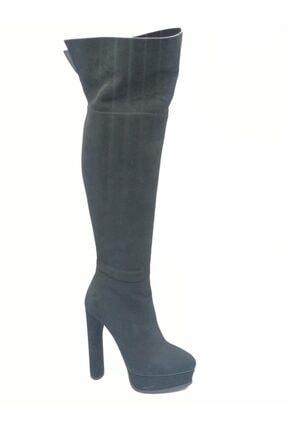 Flower Kadın Siyah Süet İnce Topuklu Çizme 0