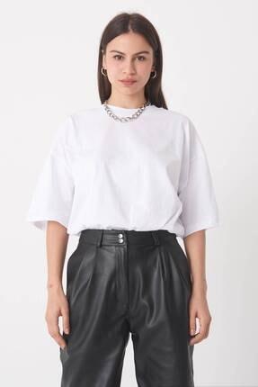 Addax Kadın Beyaz Oversize T-Shirt P0731 - G6 - K7 Adx-0000020596 1