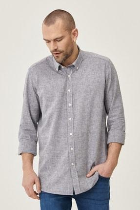 Altınyıldız Classics Erkek Füme Tailored Slim Fit Dar Kesim Düğmeli Yaka Keten Gömlek 3