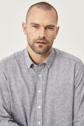 Altınyıldız Classics Erkek Füme Tailored Slim Fit Dar Kesim Düğmeli Yaka Keten Gömlek 4